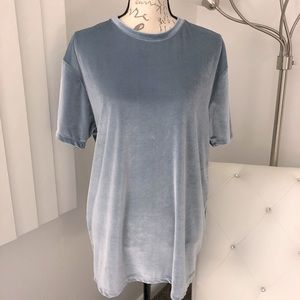 Asos Stretchy Velour Short Sleeve Tee Shirt Top L